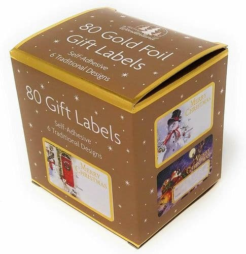Self Adhesive Sticky Christmas Labels Gold Foil Present Wrapping Gift Tags x 80